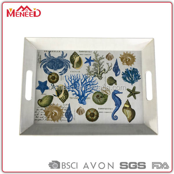 Large printing custom melamine serving tray with handle, serving tray with legs