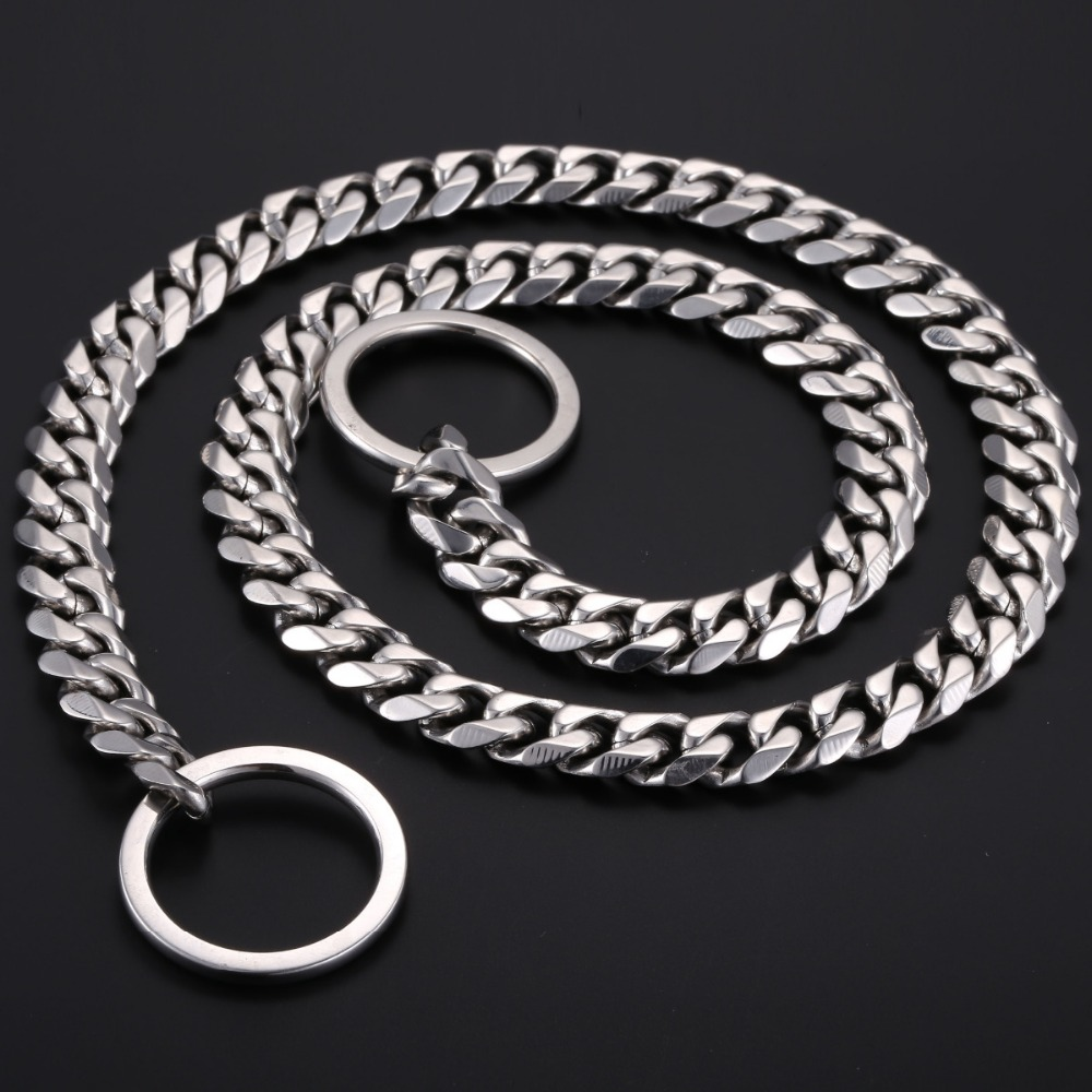 Stainless Steel Twist Type Dog Choke Chain,Chrome Plated Dog Collar with Link on Both End