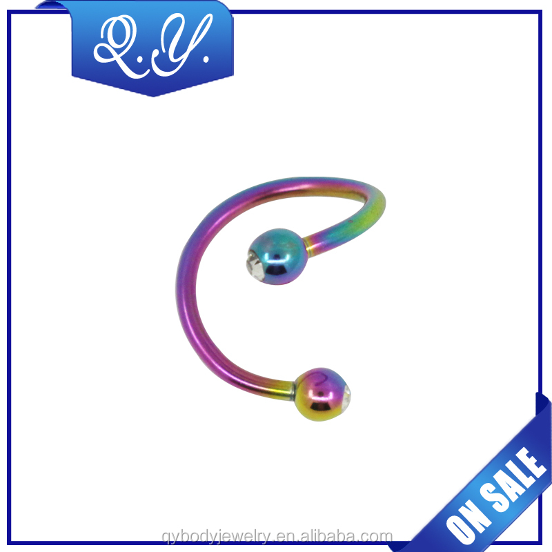 Wholesale body piercing crystal colorful lip jewelry
