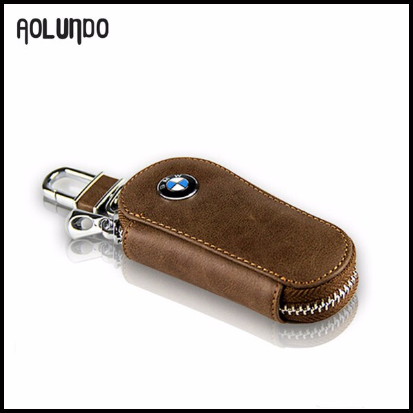 Zipper Genuine Leather Car Key Case