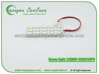 PCB 15SMD 5050 LED Auto Car Top Dome Light For Interior Reading Roof light with T10 BA9S S8.5 Festoon Bulb Adapter