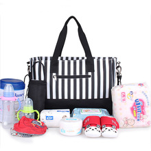High Quality Factory Supply Black Stripe Baby Diaper Bag for mother
