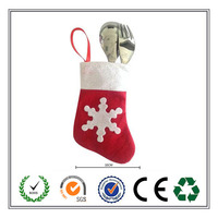 Promotional Christmas Stocking Silverware Holder/Bag for Party Decoration