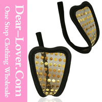 Wholesale see through Gold Polka Dot C-String