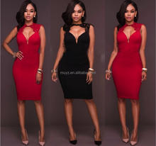 L1373A Black Red Sexy Deep V Neck Bodycon Western Dresses Names of Ladies Photos Dresses Women Summer