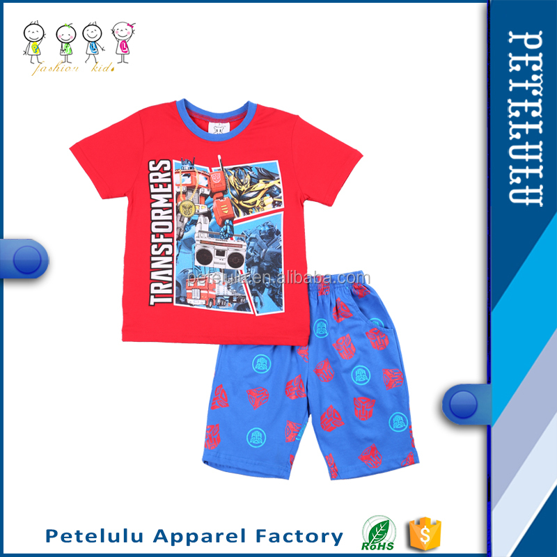China Wholesale Children's Clothing T Shirt Clothes For Boys Dresses New Design Pants Cheap Summer 100% Cotton Kids Pajamas