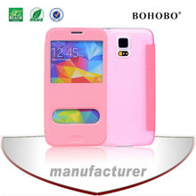 Wholesale cell phone case, flip leather cell phone reviews case for galaxy S5