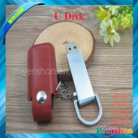 Promotional gift usb,custom metal PU leather usb flash drive 32gb pendrive