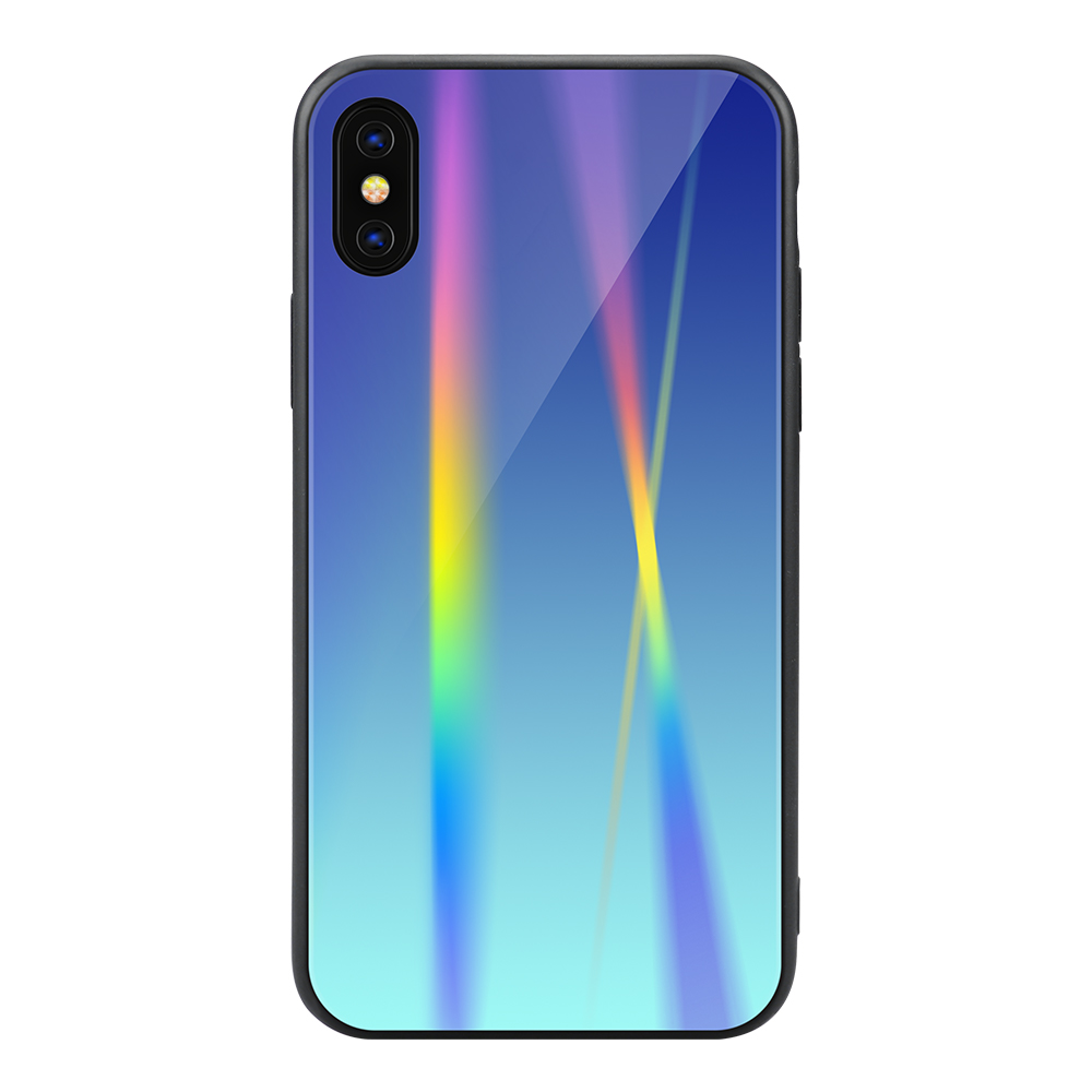 For <strong>iPhone</strong> X Phone Cases,Hybrid Laser Mirror Rainbow Shockproof Combo Tempered Glass Mobile Phone Cover Case