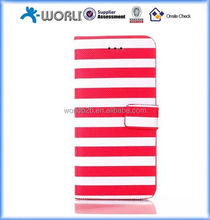 Red+ white Stripes Series Card PU Leather Flip Case Skin Cover Stand for iphone 6