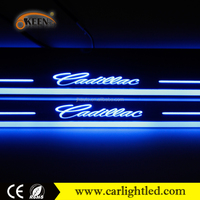 Waterproof led car auto stainless accessories car logo welcome pedal door sill moving scuff plate for Cadillac