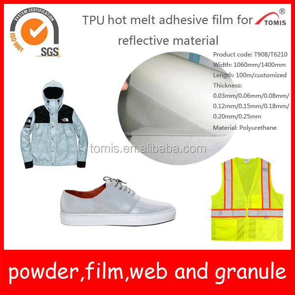 TPU Hot Melt Adhesive Films for Textile Fabric and Reflective Fabric