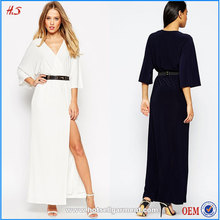 2015 Best seller new fashion simple design maxi dress with deep V neck