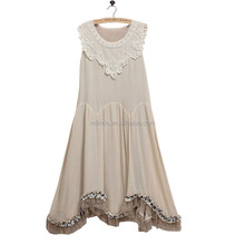 Taupe Linen Christmas Dress Stitching Designs Maxi Sleeveless One Pieces Long Frozen Lace Trim Ladies Dress Names