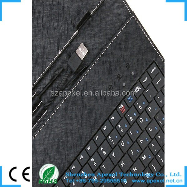 "for 7"" tablet pc leather case with keyboard multi color keyboard"