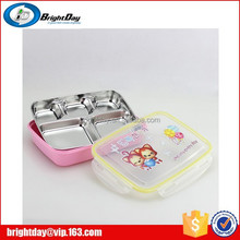 304 stainless steel kids bento lunch box with lock 5 compartment