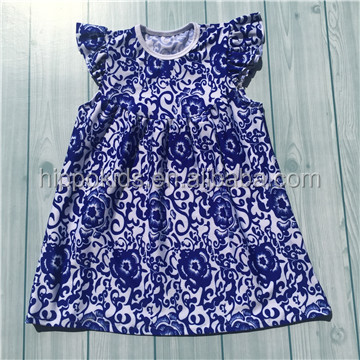 New arrival girls summer dresses boutique navy damask pattern kids smocked dresses wholesale baby frock design pictures