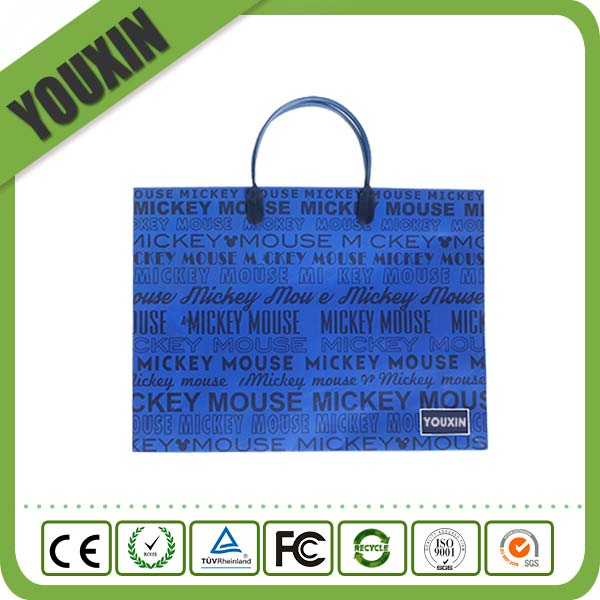 Promotional Cheap Logo-printed Shopping Paper Bag with Plastic Handle