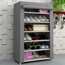 6 layers non-woven fabric steel storage rack Shoes with cloth cover