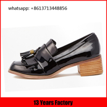 Classic style patent and metalic silver leather tassels for shoe leather stacked covered heel types of shoes italic shoes