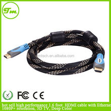 hot sell high performance 1.6 foot HDMI cable with Ethernet 1080P+ resolution, 3D TV, Deep Color