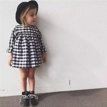 Hot sale little girls cotton summer dresses plaid baby frock designs