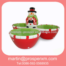 Christmas snowman shaped 3 section candy bowl