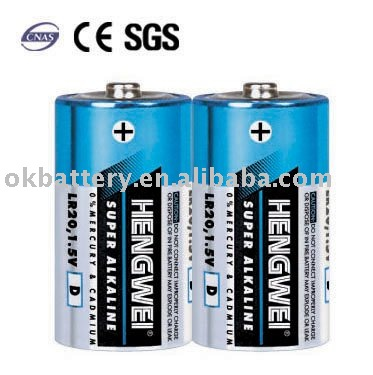 Super Alkaline Battery General Pack LR20 D 2/S
