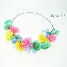Fashion artificial spring flower crown colorful headband hair band