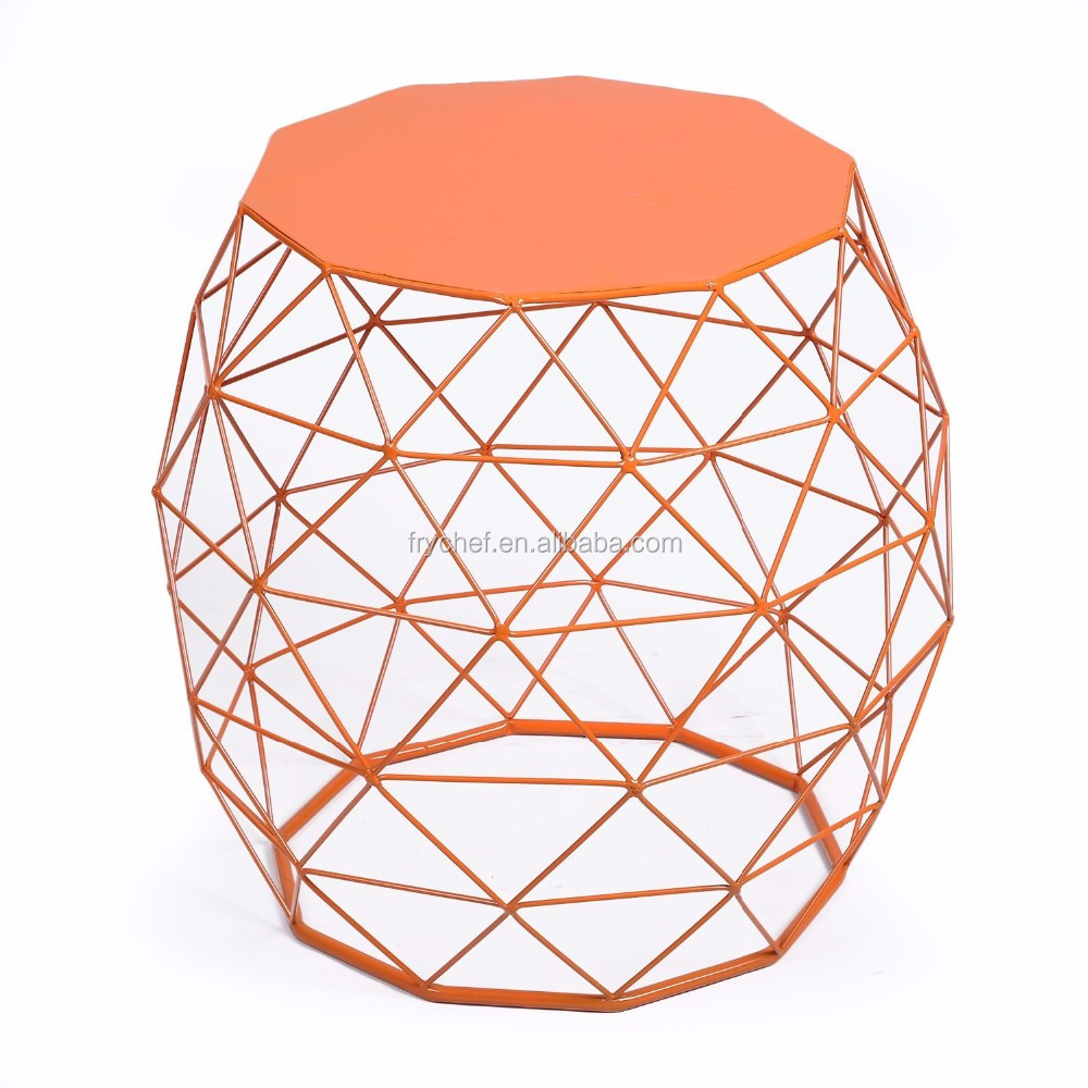 Home Garden Accents Wire Round Iron Metal Stool Side End Table Plant Stand Chair, Hatched Diamond Pattern, For Indoor Outdoor,
