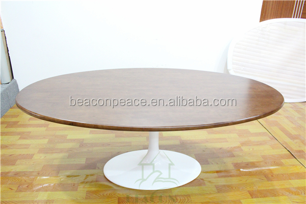 oval wood top tulip dining table