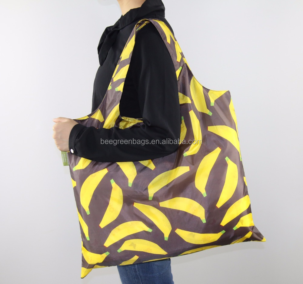 Beegreen Banana Design Rolled 210T polyester wholesale reusable shopping bag