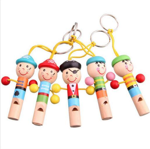 Kids Toy Wood Toys Cartoon Pirates Hanging Musical Instrument Whistle Music Education Preschool Training