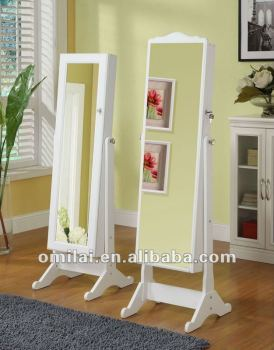 Standing furniture mirrored jewelry cabinet