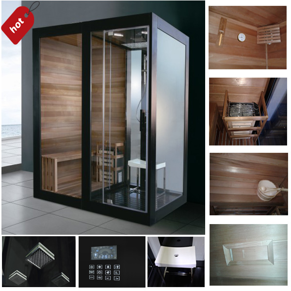 2014 new design steam and sauna combo simple shower wooden steam cabin box