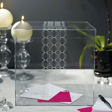 Clear acrylic cube wedding card box, lucite donation box, perspex flower box