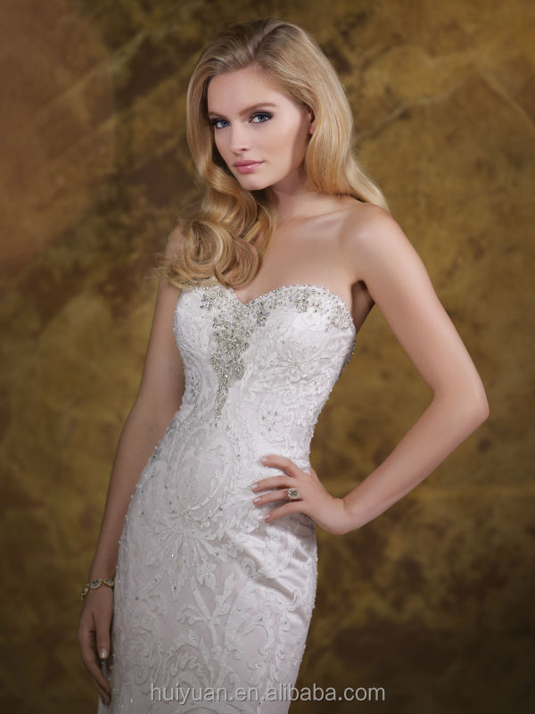 new fashion hot sell mermaid lace strapless cheap slim wedding dresses