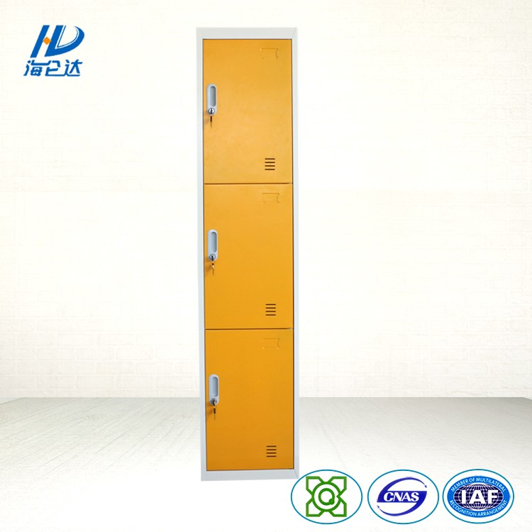 New design kd furniture yellow 3 tier steel closet locker for Y h furniture trading