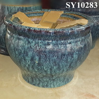 Peacock blue glaze ceramic europe flower pot