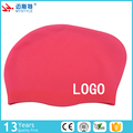 custom printed logo silicone swim cap for girls long hair