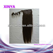 Promotion best price straight Virgin brazilian human hair drawstring ponytail and extenion