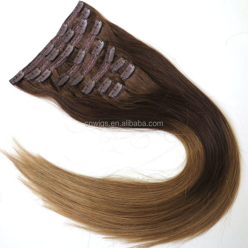 Factory Direct OEM 120 160 220 260 320grams/set Double Drawn Thick Ends Triple Weft With Lace Attached Clip in Hair Extension