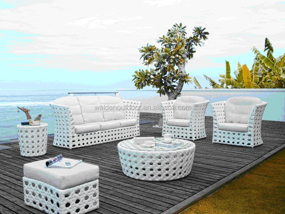 White wicker outdoor rattan furniture sofa sets dh 9536 for Balkon sofa