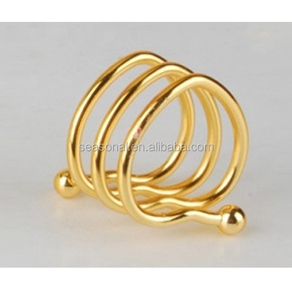 Factory outlet wholesale metal wire gold heart-shaped napkin ring two beads in stock