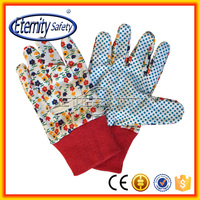 beautiful design pvc dots flower printing canvas shell glove