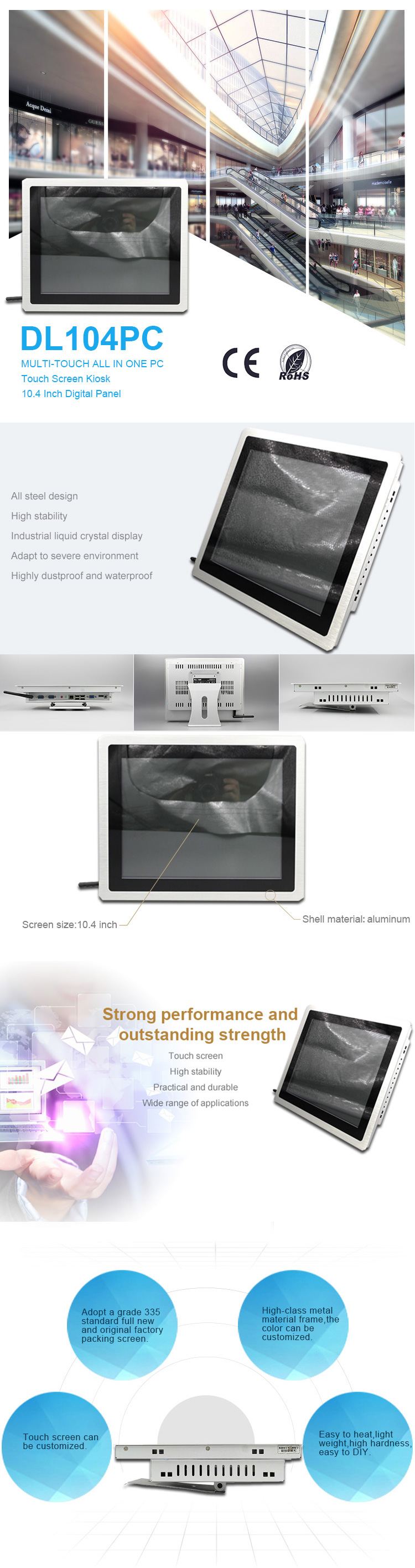 Low price wireless 2.0Ghz multi-touch silver industrial all in one pc with built in wifi