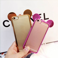 3D Mouse Ear Ultra-thin Cell Phone Case Cheap TPU Soft Case for iPhone 6S