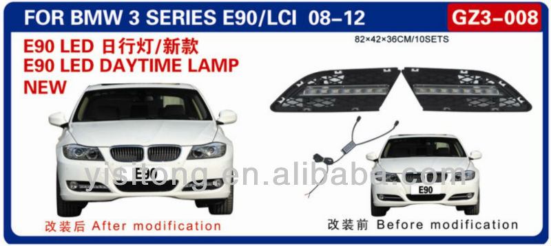 ABS OEM auto parts LED daytime running light lamp replacement used for B.M.W E90 3 Series 2008-2012 DRL fog lamp cover