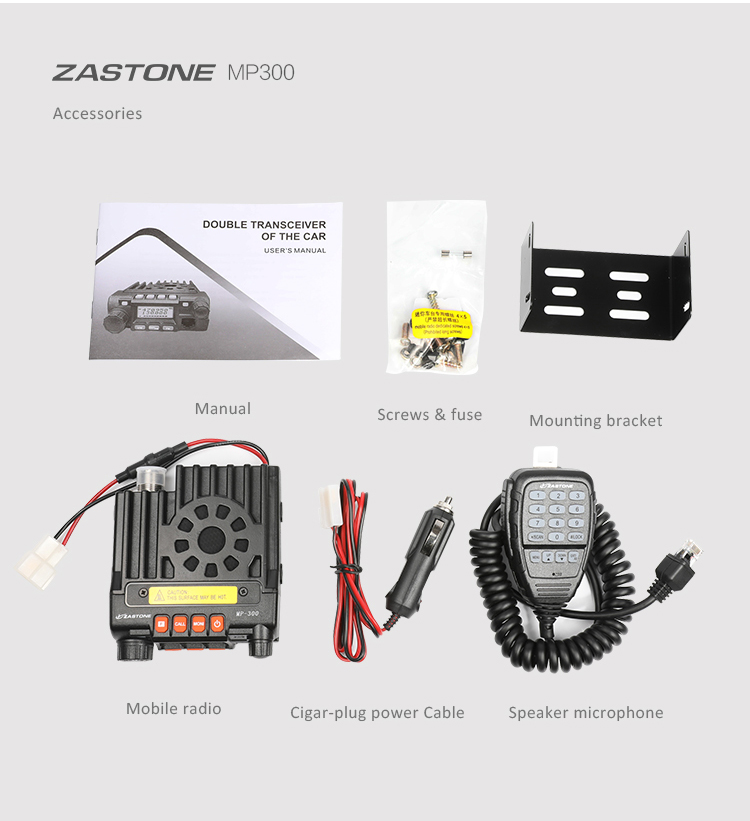 Hot sell mini mobile radio transceiver ZASTONE MP300 UHF+VHFall band transceiver