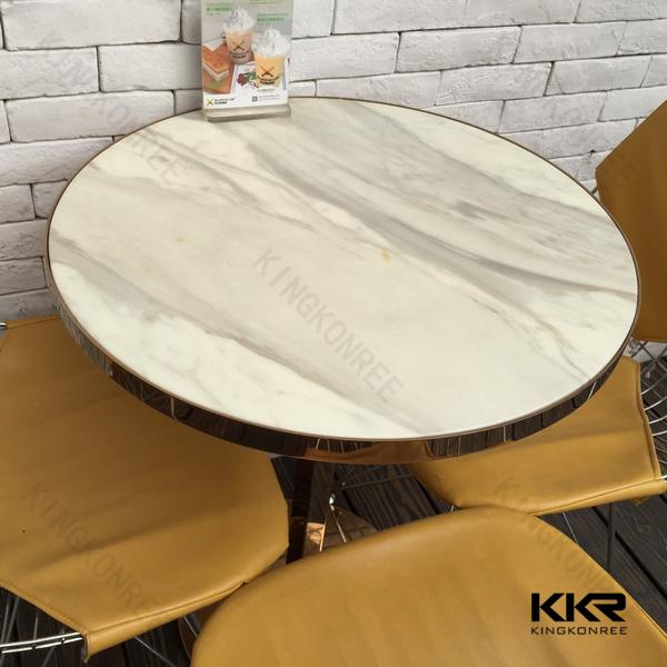 Quartz Table Top : White round coffee table quartz stone dining top